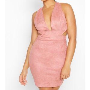 Soft pink suede mini dress. size 4